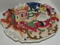 "Fitz and Floyd 1993 Christmas Ceramic Plate Santa Sleigh Full of Toys 12"" x 9.5"""