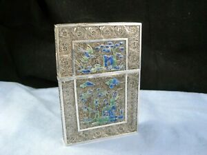 ANTIQUE CHINESE EXPORT SILVER FILIGREE & ENAMEL BUSINESS CARD CASE POCKET BOX