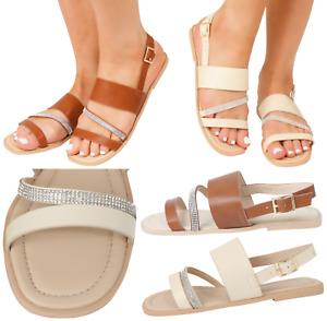 New Ladies Summer Beach Slingback Flat Open Toe Flip Flop Menorcan Shoes Sandals