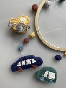"""Sebra Handmade Crochet Baby Mobile Wooden Ring Theme """"little Driver"""" New"""