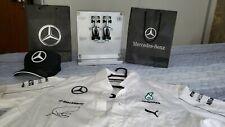 Mercedes Formula 1 SIGNED & RARE items: Exhibitor + Shirt + Cap (Lewis Hamilton)