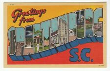 [56377] OLD LARGE LETTER POSTCARD GREETINGS FROM SPARTANBURG, SOUTH CAROLINA