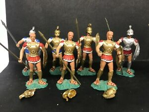 8 ORIGINAL AOHNA TOY SOLDIERS GREEK Hoplites 1970s Made In Greece RARE Alexander