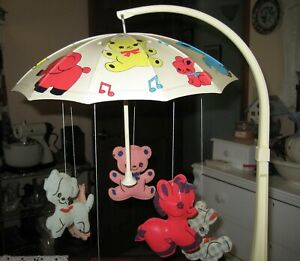 """REDUCED - Vintage 70's Rockabilly """"Dolly Toy"""" Crib Mobile and Lamb Night Light"""