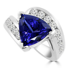 14K White Gold Diamond Rings Certified 2.80Ct Gemstone Blue Sapphire Ring Size P