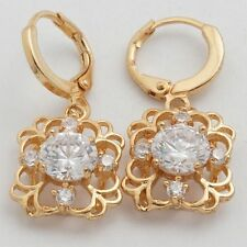 New 24K Gold Filled Nicely Framed Clear White Round CZ w/Accents Dangle Earrings