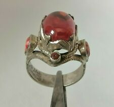 Rare Ancient Viking Ring silver color authentic artifact beautiful red stone