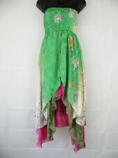 Indian Floral Double Layer Silk Style Rayon Summer Strapless Dress Skirt