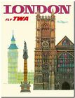"Vintage Illustrated Travel Poster CANVAS PRINT ~ London Uk TWA Big Ben 8""X 12"""