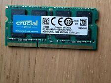 Crucial 4GB SODIMM Laptop RAM (4 GB, PC3-12800 (DDR3-1600), DDR3 RAM, 1600 MHz)