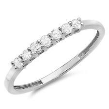 10K White Gold Diamond Ladies 7 Stone Wedding Band 1/4 CT (Size 6.5)