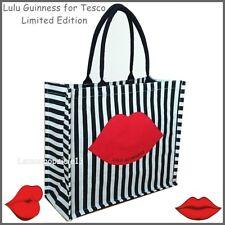 Lulu Guinness Bag for Tesco Jute Tote  Stripes Lips Shopping Shopper Bag