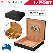 20 - 25 Count Cedar Wood Lined Cigar Humidor Humidifier With Hygrometer Case Box