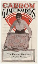 RARE Advertising Flyer Catalog - Carrom Game Boards ca 1915 Pool Crokinole