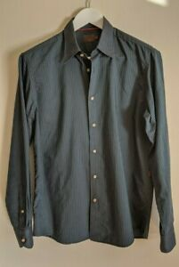 FERAUD Forest Green Striped Logo-Embroidered Shirt - 100% Cotton - Mens Size M