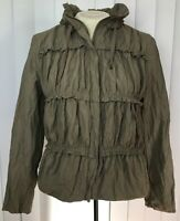 Chico's Size 0 Army Green Tiered Ruched Lightweight Full Zip Windbreaker Jacket