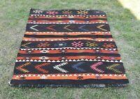 Scandinavian Ethnic Carpet Anatolian Vintage Hand Knotted Wool Kilim Rug 3x4 ft