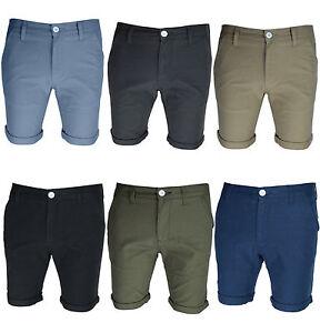 Mens Chino Shorts BNWT Slim Knee Length Half Pant Roll Up