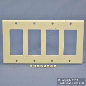 Leviton Light Almond Decora 4-Gang Thermoset Wallplate GFCI GFI Cover 80412-T