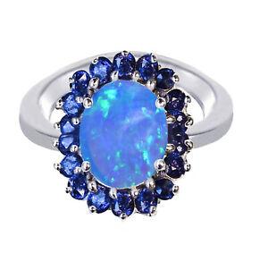 Plumeria Flower Blue Fire Opal Oval Blue Sapphire CZ Sterling Silver Ring