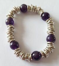 COSTUME JEWELLERY Ladies Stretchy Silver Tone Purple Glass Round Beaded Bracelet