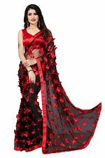 Indian Women's Net Embroidery Saree With Blouse Piece with Free Shipping