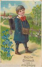 First Day of School Stamp-AK 1912 Boy With Satchel U. Bread Drum School Early 606360