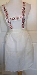 Vintage White Sheer Swiss Dot Apron Bavarian Style Suspenders