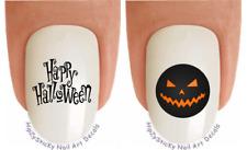 Nail Art #744H Happy Halloween Black Orange WaterSlide Nail Decals Transfers