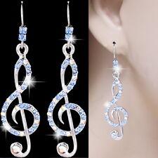 #E520A PIERCED Earrings Hook Dangle Treble Clef Music Note Blue AB Crystal NEW