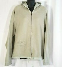 La Cabana Zip Hoodie Ribbed Knit Sweatshirt Jacket Women XL Green 100% Cotton LS