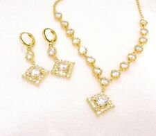 Dangle Earrings Necklace Set 14K Gold Plated Clear Simulated Diamonds UK