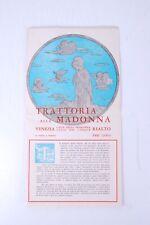 Menù anni '60 '70 circa, Trattoria alla Madonna, Venezia, Rialto.