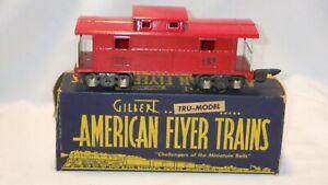 GILBERT AMERICAN FLYER LINES RAILROAD RED CABOOSE #484 TIN TRAIN W/ BOX