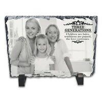 Personalised Three Generations Family Rock Slate Photo Frame - Rectangle