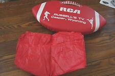 Vtg RCA RUSSELL'S TV Casper, Wyoming Football shaped Stadium Cushion Seat/PONCHO