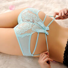 Women Sexy Lace V-string Briefs Panties Thongs G-string Lingerie Underwear Blue
