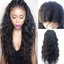 Women's Front Lace Wigs Synthetic Hair Long Black Color Water Wavy Heat Safe USA