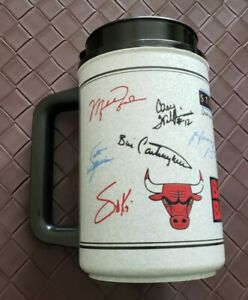 Vintage Chicago Bulls Michael Jordan Autograph Thermo Coffee Travel Mug Cup VTG