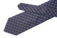 Joseph Abboud tie Brown silk necktie with blue geometric woven pattern USA