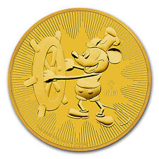 2017 Niue 1 oz Gold $250 Disney Steamboat Willie BU Coin - SKU #117781