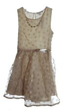 Girls CHRISTMAS Holiday Special Occasion Tan Polka Dot GOLD Glitter Belt 12 NEW