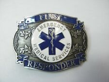 EMS EMERGENCY MEDICAL SERVICES FIRST RESPONDER BELT BUCKLE 3.2 INCHES MADE USA