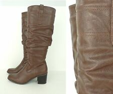 78e39dff675c2 ST. JOHNS BAY Brown Slouchy Faux Leather Knee High Heeled Knee High Boots 8  M