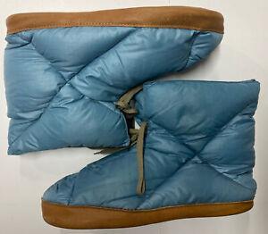 Eddie Bauer Vintage 60s Down Tent Slipper Shoe Boot Blue Pair Size Medium
