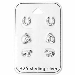 925 STERLING SILVER Horse Lovers Earrings Horseshoe Gift Set Stud Earrings (W12)