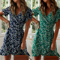 Women Vestidos Wrap Dress Floral Print Short Sleeve Ruffles A-Line Mini Dress