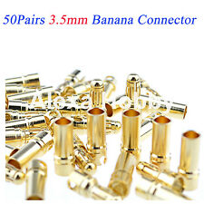 3.5mm Banana Plug Connector Gold Bullet Male Female Battery 50 pairs 100Pcs