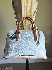 Brahmin Vivian White Lyon Silver Floral Embossed Leather Hand Shoulder Bag NWT