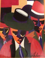 "Black History ART by Kelvin Henderson  Signed Painting Print New Orleans 14""x12"""